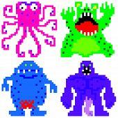 pic of terrifying  - worse nightmare terrifying monsters retro computer eight bit pixel art - JPG
