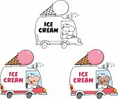image of ice-cream truck  - Cartoon Character Ice Cream Truck  Collection Set - JPG
