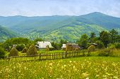 stock photo of chalet  - chalet in the mountains in the Carpathians in Ukraine - JPG