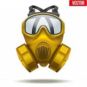 stock photo of rubber mask  - Vector Illustration of Yellow gas mask respirator - JPG