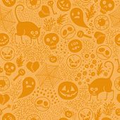 picture of fall decorations  - Halloween seamless pattern - JPG