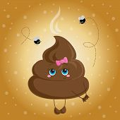 foto of turds  - Cute turd with a bow and flies - JPG