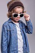 pic of denim wear  - Fashion little boy wearing trendy white sunglasses - JPG