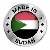 picture of sudan  - Made in Sudan silver badge and icon with central glossy Sudanese flag symbol and stars - JPG