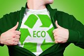 pic of open shirt breast showing  - Man wearing in shirt with green color eco recycling sign - JPG