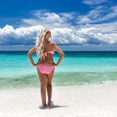 picture of boracay  - Woman in bikini on tropical beach Philippines Boracay - JPG