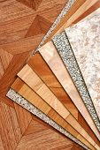 stock photo of linoleum  - The samples of a collection natural linoleum - JPG
