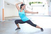 picture of tai-chi  - Beautiful hispanic sport woman demonstrating tai chi stance - JPG