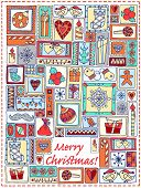 image of christmas bells  - Geometric christmas doodle hand drawn pattern - JPG