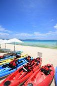 stock photo of boracay  - The kayaks on the beach of Boracay Island of Philippines - JPG