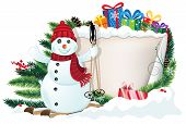 picture of winterberry  - Snowman Christmas presents and Christmas wreath with old parchment and red berries - JPG