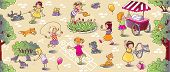 image of small-flower  - Big seamless pattern or picture set of small girls playing in the yard with cats and dogs watering flowers jumping and eating ice cream - JPG