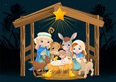 pic of nativity scene  - Christmas nativity scene with holy family - JPG