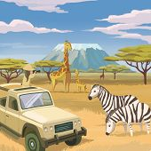 picture of  jeep  - Africa savanna animals nature the wild jeep giraffe zebra safari mountain illustration - JPG