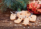 pic of christmas cookie  - Christmas cookies handmade lies on wooden background - JPG