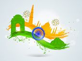 stock photo of indian independence day  - Famous Indian monuments with Ashoka Wheel on floral decorated paint stroke in national flag colors for Indian Republic Day and Independence Day celebrations - JPG