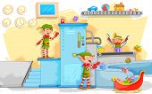 stock photo of elf  - illustration of Elf making Christmas gifts in toy factory - JPG