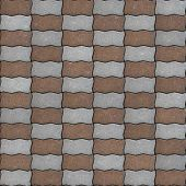 foto of parallelogram  - Brown and Gray Paving Slabs as Wavy Parallelograms Laid in Chequerwise - JPG