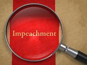 pic of soliciting  - Impeachment through Magnifying Glass on Old Paper with Red Vertical Line - JPG