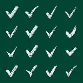 pic of confirmation  - Vector set of chalk confirm icons set for check box design - JPG