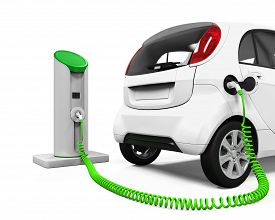 stock photo of electric station  - Electric Car in Charging Station isolated on white background - JPG