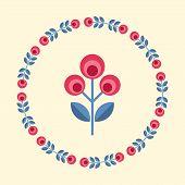 picture of scandinavian  - Scandinavian folk style flower in round floral ornamented frame - JPG