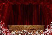 stock photo of curtains stage  - Red curtain stage background with glow note sign - JPG