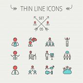 image of line graph  - Business thin line icon set for web and mobile - JPG