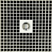 stock photo of orthogonal  - Closeup decoration design of open downlight on black tile background - JPG