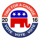 stock photo of election  - 2016 Elections button shape with Republican party icon and text - JPG