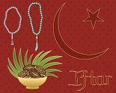 foto of prayer beads  - an illustration of a ramadan greeting card with bowl of dates rosary beads and islamic symbol on a maroon spotty background - JPG