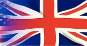 foto of union  - An American flag the Stars and Stripes faded onto a British Union Jack - JPG