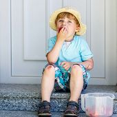 pic of strawberry blonde  - Funny little kid boy eating fresh organic strawberries in domestic garden on warm summer sunny day - JPG