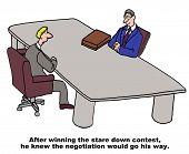 stock photo of negotiating  - Cartoon of businessman in a negotiation - JPG
