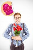 image of bunch roses  - Geeky hipster holding a bunch of roses against heart - JPG
