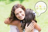 foto of happy day  - mothers day greeting against happy mother and daughter hugging - JPG