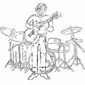 stock photo of drum-set  - Vector Illustration of hipster playing guitar and with drum set on background - JPG