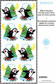 Постер, плакат: Picture puzzle find the mirrored copy for every skating penguin image