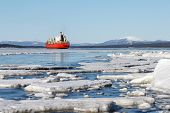 image of crevasse  - Sea ice is destroyed in the spring White sea Russia - JPG