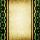 stock photo of celtic  - Old light green paper with celtic pattern - JPG