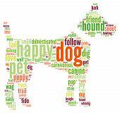 image of dog tracks  - Dog shaped dog word cloud on a white background - JPG