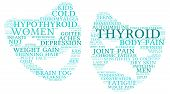 stock photo of fibromyalgia  - Mood swing thyroid word cloud on a white background in the thyroid cancer ribbon colours - JPG