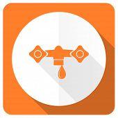 pic of hydraulics  - water orange flat icon hydraulics sign  - JPG