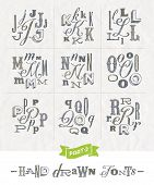 stock photo of hand alphabet  - Vector set of Hand drawn different fonts for a headlines  - JPG
