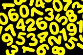 stock photo of zero  - Bright yellow numbers from zero to nine on an isolated black background - JPG
