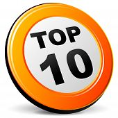 image of ten  - illustration of top ten 3d design orange icon - JPG