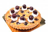 foto of cherry pie  - Delicious homemade cherry pie with isoleted on white - JPG