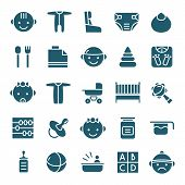 pic of teats  - Baby icons set in flat style - JPG