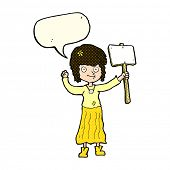 picture of hippy  - cartoon hippie girl with protest sign with speech bubble - JPG