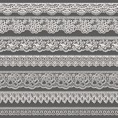 Set of decorative borders stylized like laces poster